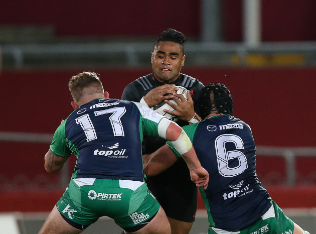 Francis Saili is tackled by Dave Heffernan and John Muldoon