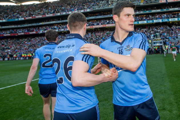 John Small and Diarmuid Connolly after the game