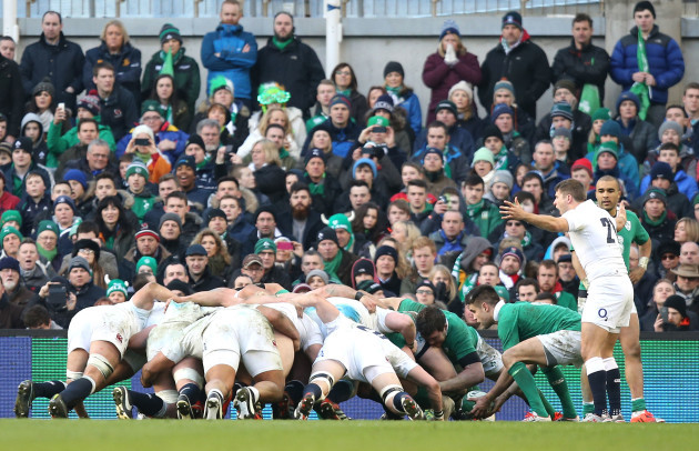 Richard Wigglesworth remonstrates with the referee as Conor Murray puts the ball into the scrum