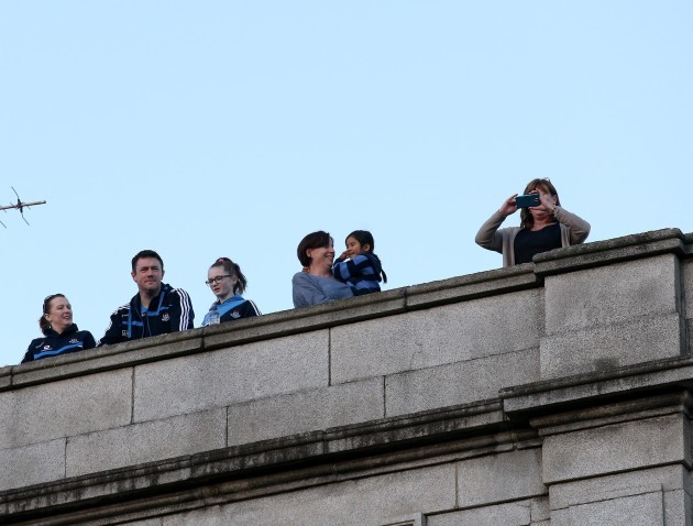 Dublin fans look down onto O'Connell Street