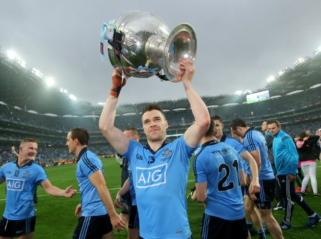 Paddy Andrews celebrates with the Sam Maguire trophy