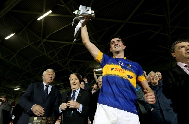 Colin O'Riordan lifts the trophy