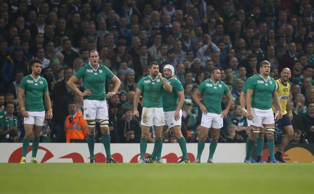 IrelandÕs Conor Murray Devin Toner Rob Kearney Rory Best Dave Kearney and Chris Henry after the second Argentina try
