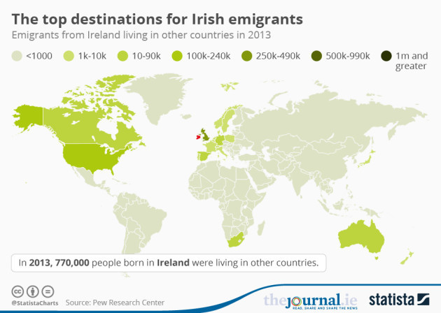This map shows where all the irish emigrants went thejournal read irish emigrants in australia feel irish government not encouraging them home gumiabroncs Choice Image