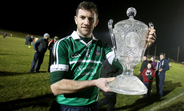 Donal O'Grady celebrates with the Waterford Crystal Cup