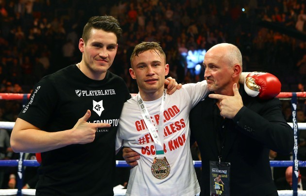 Carl Frampton celebrates defeating Hugo Cazares with Shane and Barry McGuigan 4/4/2014