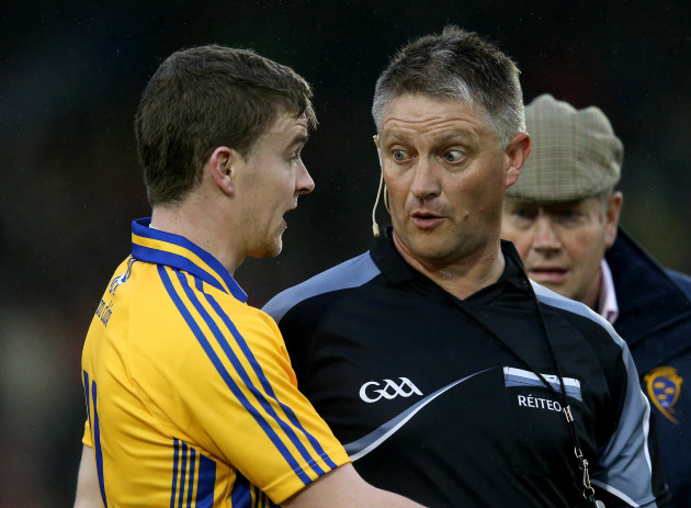 Tony Kelly argues with Barry Kelly after the game