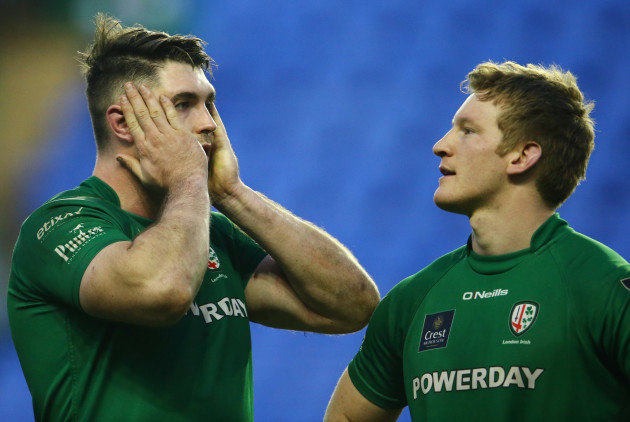 A dejected Eamonn Sheridan and Eoin Griffin