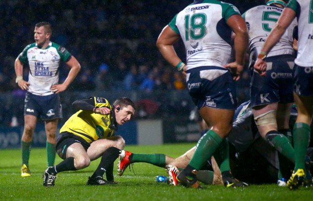 George Clancy slips as Leinster score the only try of the game