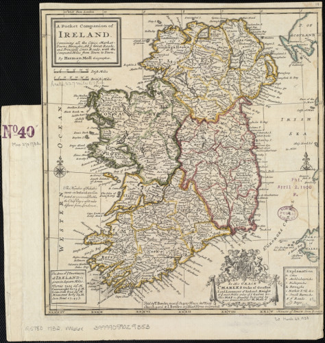 A pocket companion of Ireland, containing all the cities, market towns, boroughs, all ye great roads, and principal cross roads with the computed miles from town to town