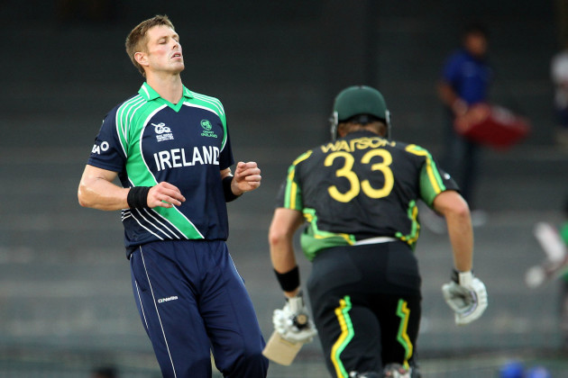Boyd Rankin reacts after bowling to Shane Watson 19/9/2012