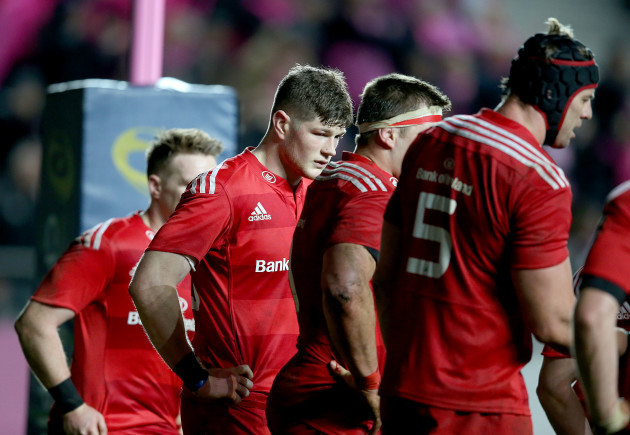 Jack O'Donoghue dejected after Stade Francais' second try