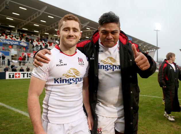 Paddy Jackson and Nick Williams celebrate