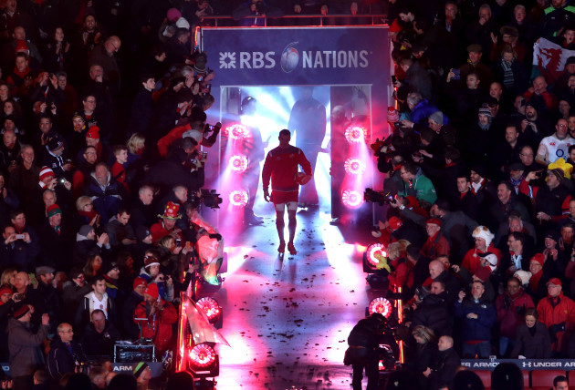 Sam Warburton makes his way out for his 50th cap