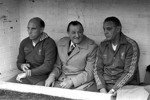 Soccer - League Division One - Liverpool - Joe Fagan, Bob Paisley and Ronnie Moran - Anfield