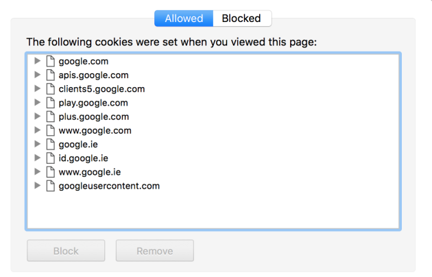 Google cookie permissions
