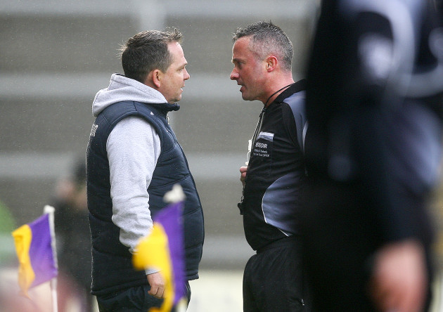 Davy Fitzgerald is spoken to by James McGrath