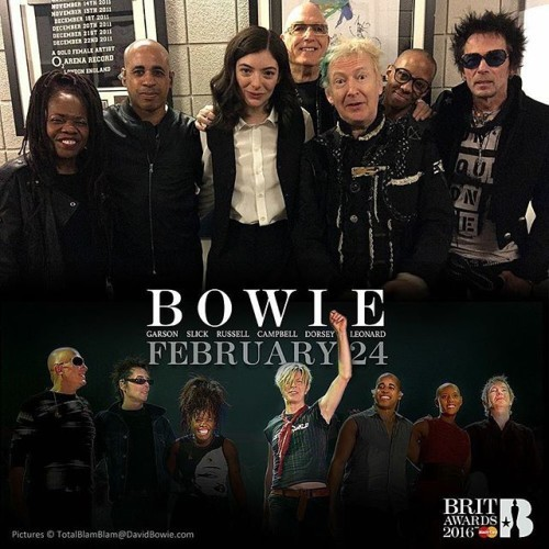 STANDING OVATION FOR BRITS BOWIE TRIBUTE Oh man! Wonder if he'll ever know Following moving spoken word tributes from singer Annie Lennox and actor Gary Oldman, Lorde joined David Bowie's touring band for a beautiful and heartfelt rendition of Life On Mars?, at the Brit Awards ceremony in the London O2 Arena tonight (Wednesday). After Annie's touching eulogy, Gary Oldman accepted the Brits Icon Award on behalf of David Bowie and gave an equally moving speech before introducing Lorde singing with the last Bowie touring band. The band, consisting of (in alphabetical order): Sterling Campbell (drums), Gail Ann Dorsey (bass), Mike Garson (piano), Gerry Leonard (guitar), Catherine Russell (keyboards and guitar) and Earl Slick (guitar), ran through a medley of Space Oddity, Rebel Rebel, Let's Dance, Ashes To Ashes, Ziggy Stardust, Fame, Under Pressure and Heroes. Lorde entered the stage as the medley segued into a piano led, full band rendition of Life On Mars?. The 19-year-old singer delivered a stylish and beautifully fragile but assured performance, prompting a standing ovation from the capacity crowd and gathered celebrities. During rehearsals earlier in the day Lorde posed with the band for pictures and expressed her gratitude for being given the honour of performing with them in David's honour. Following the sad announcement of David's passing in January, she posted this tribute to him on her FB page: http://smarturl.it/LordeDBFBtribute Meanwhile, you can watch both Annie Lennox and Gary Oldman's contributions on the official Brit Awards 2016 YouTube channel: http://smarturl.it/AnnieGaryTributesYT And if it's still there when you look, Slate have hosted a video of the Band's full performance: http://smarturl.it/BowieTributeSlate (See DavidBowie.com for more images) ‪#‎BowieBrits‬ ‪#‎BowieLorde‬ ‪#‎BowieLennoxOldman‬