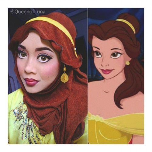 This Woman Uses Her Hijab To Transform Herself Into Disney Princesses - Makeup artist uses hijab to transform herself into disney characters