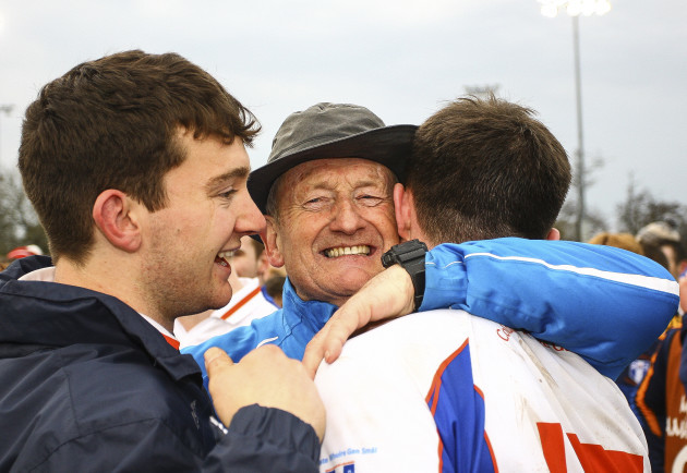 Mary I Fitzgibbon Cup manager Eamon Cregan celebrates at the end of Saturday's game
