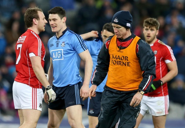 Diarmuid Connolly jokes with Brian O'Dirscoll