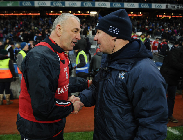 Peadar Healy and Jim Gavin shake hands at the end of the match