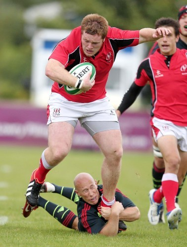 Conor Carey tackled by Peter Stringer 14/9/2012