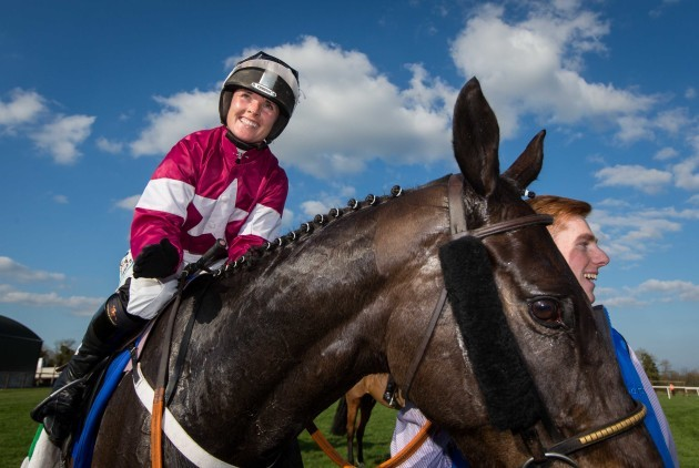 Katie Walsh celebrates onboard Thunder And Roses after winning