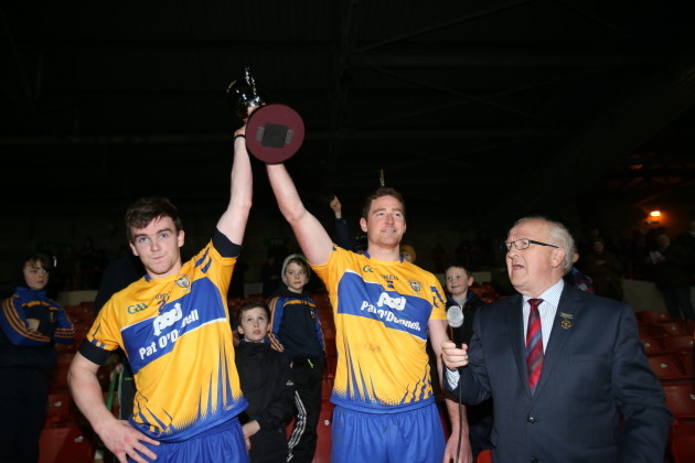 Tony Kelly and Cian Dillon lift the cup