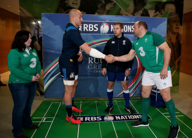 Sarah Finn with Rory Best and Sergio Parisse along with Angus Gardner at the coin toss