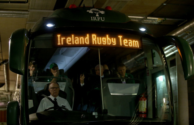 The Ireland team bus arrives
