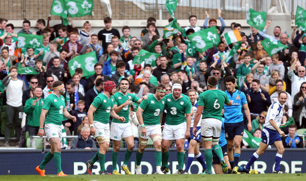 Jamie Heaslip celebrates scoring a try