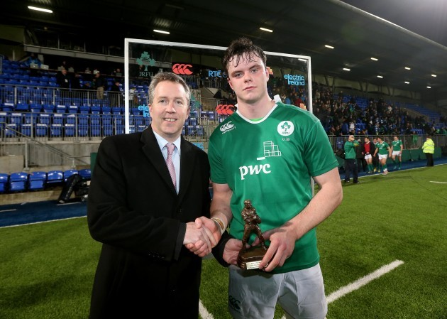 James Ryan is presented with his man of the match award by Paul Stapeton