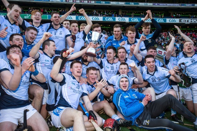 Na Piarsaigh players celebrate with the cup