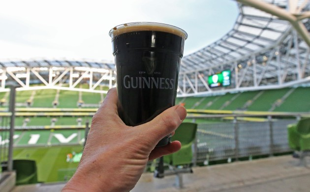 A view of alcoholic drink being served at the Aviva on Good Friday