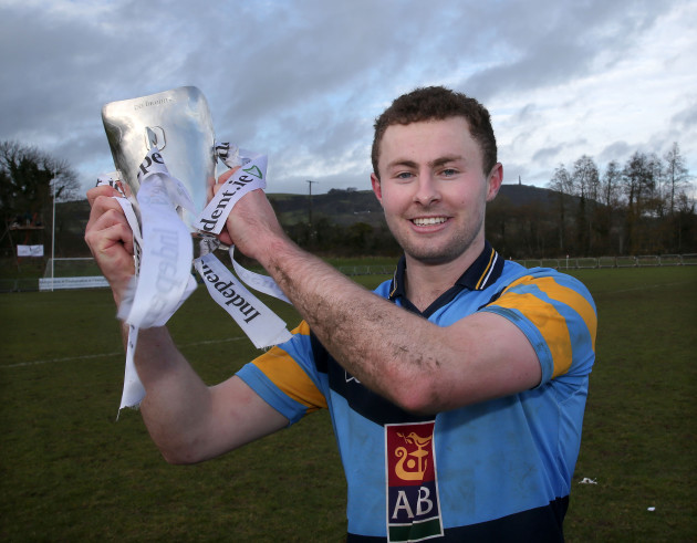 Jack McCaffrey celebrates with the Sigerson Cup