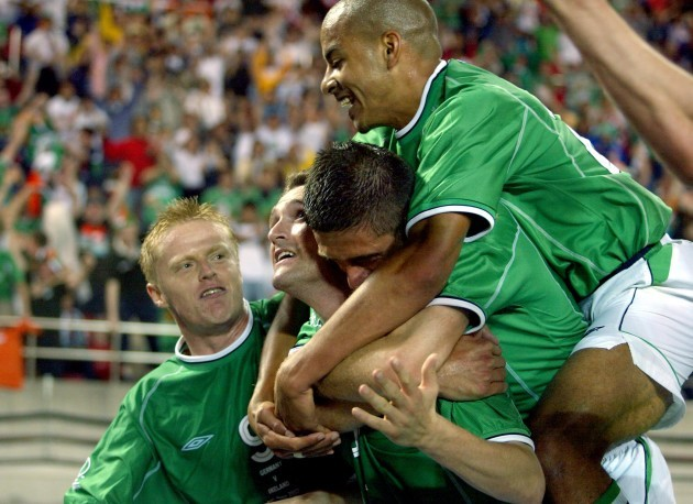 Robbie Keane celebrates 5/6/2002 DIGITAL