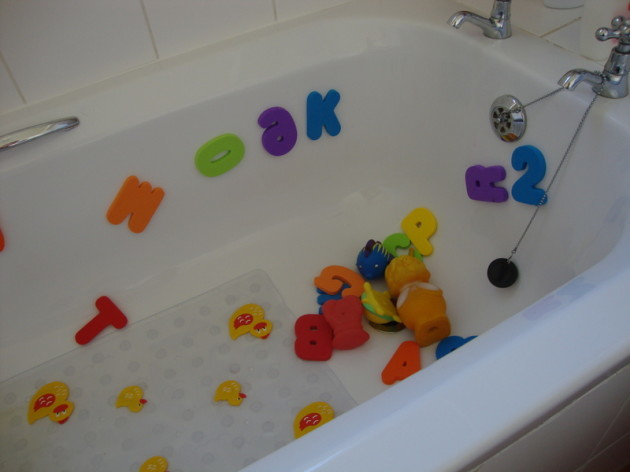 Bath Tub Filled With Foam Alphabet Letters