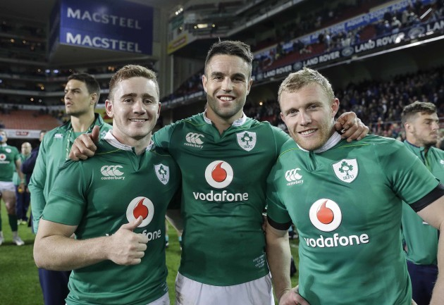 Paddy Jackson, Conor Murray and Keith Earls celebrate after the match