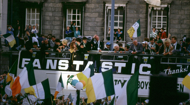 File photo: Next Wednesday is the 25th Annivesary of the return home to Dublin of the Italia 90 Irish Soccer Team.