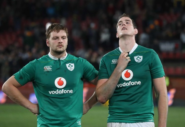 Ireland's Iain Henderson and Devin Toner after the match