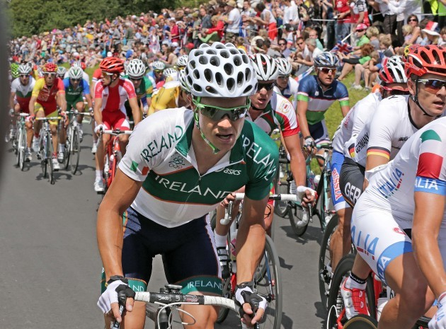 Nicolas Roche on the climb up Box Hill