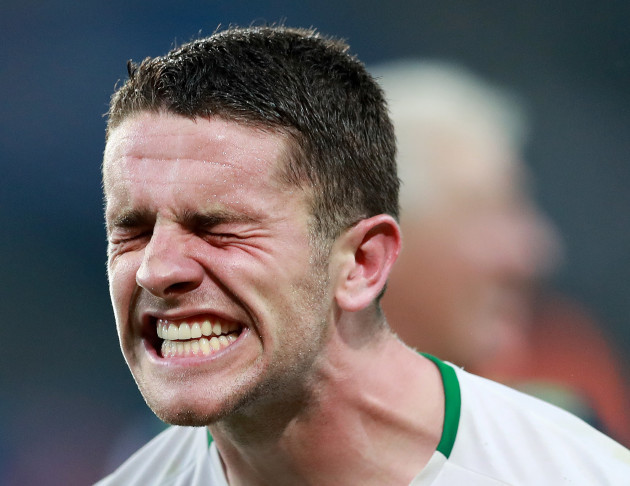 Robbie Brady celebrates after the game