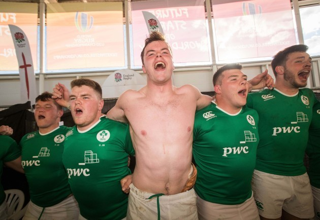 James Ryan celebrates in the changing rooms after the game with his team