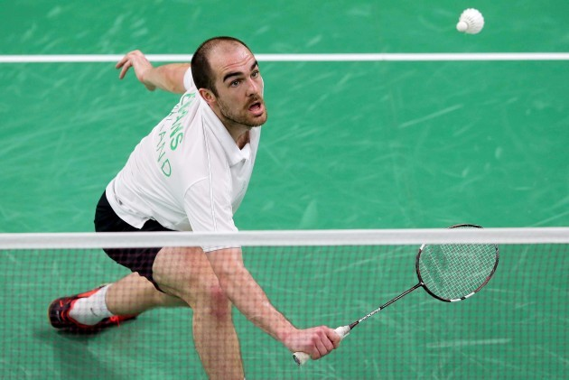 Scott Evans in action against Gergely Krausz