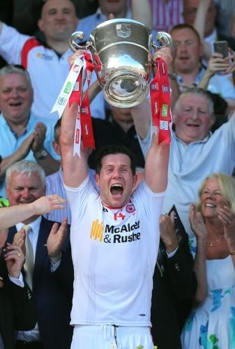 Sean Cavanagh lifts the cup