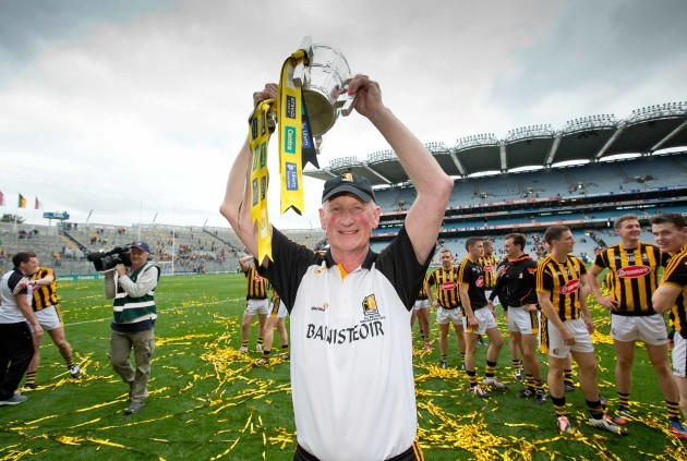 Brian Cody celebrates with the Liam McCarthy Cup