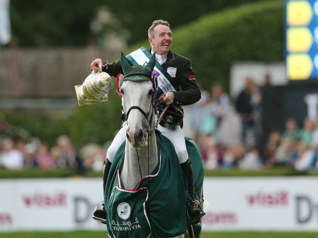 Greg Patrick Broderick celebrates with The Furusiyya FEI Nations Cup