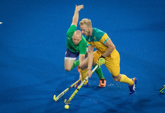 Ireland's Peter Caruth competing against his Australian counterpart during a warm-up game