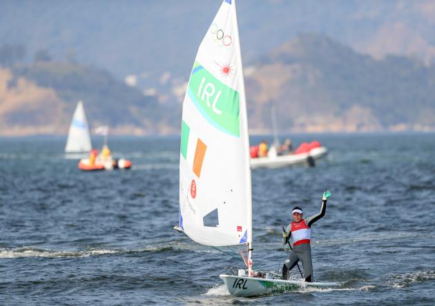 Annalise Murphy celebrates winning silver medal